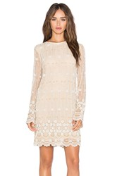 Ganni Long Sleeve Embellished Shift Dress Cream