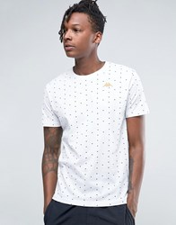 Kappa T Shirt With All Over Spot Print White