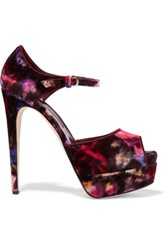 Brian Atwood Tribeca Printed Suede Sandals Merlot