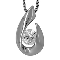 Jools By Jenny Brown Silver Hook Cubic Zirconia Solitaire Pendant Necklace Silver