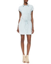 Paige Mila Cap Sleeve Denim Shirtdress Icy Blue