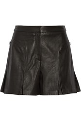 Tibi Pleated Leather Shorts Black