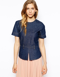 Le Mont St Michel Denim Peplum Top Blue