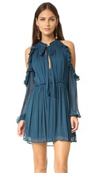 Free People You And I Cold Shoulder Dress Blue Green