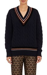 Dries Van Noten Women's Velvet Trimmed Cable Knit V Neck Sweater Navy