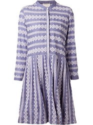 Band Of Outsiders Embroidered Shirt Dress Blue