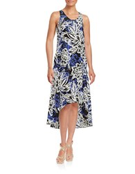 Lord And Taylor Tropical Hi Lo Dress Black