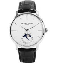 Frederique Constant Fc705s4s6 Moonphase Stainless Steel And Leather Watch