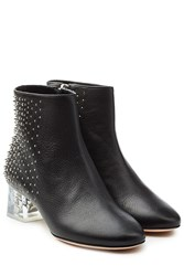 Alexander Mcqueen Leather Ankle Boots With Skull Heel Black