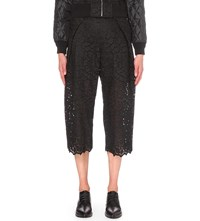 Sacai Wide Mid Rise Embroidered Lace Culottes Black Navy
