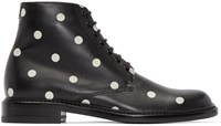 Saint Laurent Black And White Polka Dot Lolita Boots