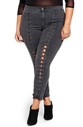 Addition Elle Love And Legend Plus Size Women's Nadia Aboulhosn Lace Up Denim Skinny Jeans