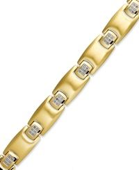 Macy's Men's Diamond Bracelet In Gold Ion Plated Stainless Steel 1 4 Ct. T.W.