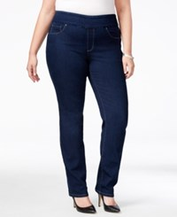 Charter Club Plus Size Pull On Slim Leg Jeans Only At Macy's Greenwich Wash