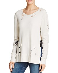 Pam And Gela Destroyed Side Slit Sweatshirt Parchment
