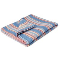Faherty Adirondack Striped Brushed Cotton Blanket Blue
