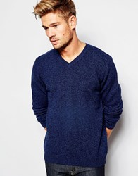 Asos Lambswool Rich V Neck Jumper Navy