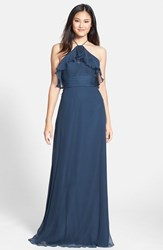 Women's Amsale Ruffle Detail Crinkled Silk Chiffon Halter Gown French Blue