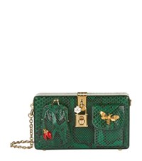 Dolce And Gabbana Python Pocket Box Clutch Female Green