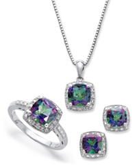 Macy's Sterling Silver Jewelry Set Mystic Topaz 4 3 4 Ct. T.W. And Diamond Accent Necklace Earrings And Ring Set