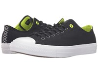 Converse Chuck Taylor All Star Ii Shield Canvas Ox Black Volt White Lace Up Casual Shoes