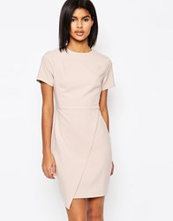 Asos Short Sleeve Clean Asymetric Mini Dress Nude Purple