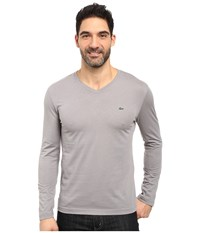 Lacoste Long Sleeve Pima Jersey V Neck T Shirt Platinum Grey Men's T Shirt Gray