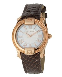 Escada Madelene Rose Gold Ip Watch W Embossed Leather Strap Brown