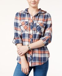 Polly And Esther Juniors' Hooded Plaid Shirt Brick Navy