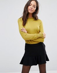 Oasis Cute Frill Knitted Jumper Olive Green