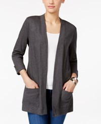 Karen Scott Open Front Cardigan Only At Macy's Charcoal Heather