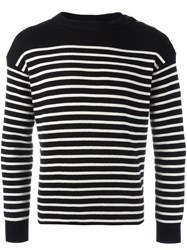 Saint Laurent Classic Mariniere Knitted Sweater Black