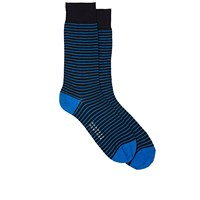 Barneys New York Striped Mid Calf Socks Navy