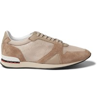 Burberry Panelled Suede Leather And Mesh Sneakers Brown