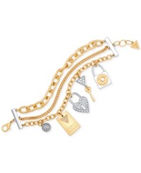 Guess Two Tone Multi Layer Pave Charm Bracelet Gold Silver