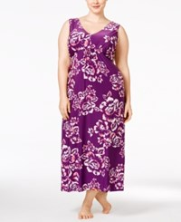 Alfani Plus Size Floral Print Nightgown Only At Macy's Purple Floral