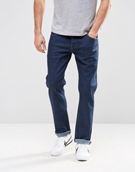 Asos Stretch Straight Jeans In Indigo Indigo Blue