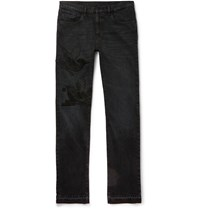 Gucci Slim Fit Embroidered Denim Jeans Black