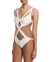 Herve Leger Cutout Bandage One Piece Monokini Swimsuit Alabaster