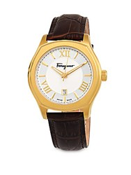 Salvatore Ferragamo Embossed Leather Strap Watch Gold