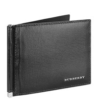 Burberry Shoes And Accessories Saffiano Leather Money Clip Wallet Unisex Black