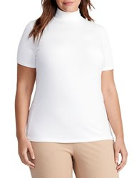 Lauren Ralph Lauren Plus Jersey Short Sleeve Turtleneck Cream