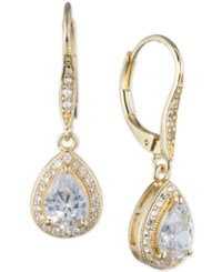 Anne Klein Teardrop Crystal And Pave Drop Earrings Yellow Gold