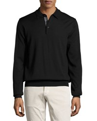Neiman Marcus Wool Long Sleeve Polo Shirt Black