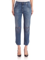 Christopher Kane Cropped Heart Stitch Jeans