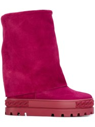 Casadei Wide Leg Boots Pink And Purple