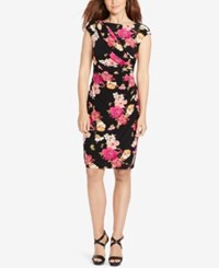 American Living Floral Print Sheath Dress Black Fuschia
