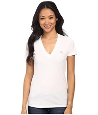 Lacoste Short Sleeve Cotton Jersey V Neck Tee Shirt White Women's Short Sleeve Pullover