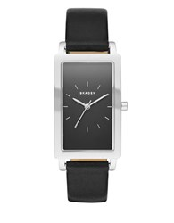Skagen Hagen Rectangle Stainless Steel And Leather Strap Watch Black
