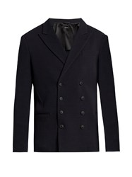 Giorgio Armani Double Breasted Wool Blend Blazer Navy